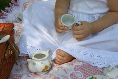 Toes and tea Royalty Free Stock Photography