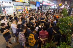 Toeschouwers, een straat het blokkeren demonstratie in 2014, Mong Kok Royalty-vrije Stock Afbeelding