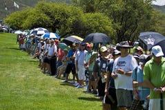 Toeschouwers op 1st fairway - NGC2010 Stock Foto's