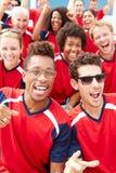Toeschouwers in Team Colors Watching Sports Event royalty-vrije stock fotografie