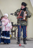 Toespraak door het koor van de kinderen van Maslenitsa in het Park van Gorky Royalty-vrije Stock Afbeeldingen