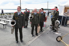 Toespraak door Russisch militair fanfarekorps van de militaire academie van het algemene personeel Stock Fotografie