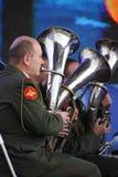 Toespraak door Russisch militair fanfarekorps van de militaire academie van het algemene personeel Royalty-vrije Stock Foto