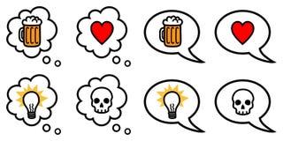 Toespraak en gedachte bellen met symbolen Vector Illustratie
