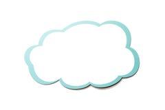 Toespraakbel als wolk met blauwe die grens op witte achtergrond wordt geïsoleerd De ruimte van het exemplaar stock illustratie
