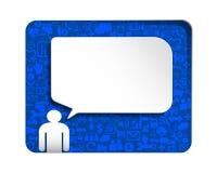 Toespraakbel met pictogram sociaal netwerk over blauwe achtergrond Stock Afbeeldingen
