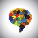 Toespraakbellen, besprekingssymbolen, praatjepictogrammen samen - concept vect stock illustratie