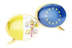 Toespraakbellen, de Vatikaan-EU gespreksconcept het 3d teruggeven Stock Fotografie