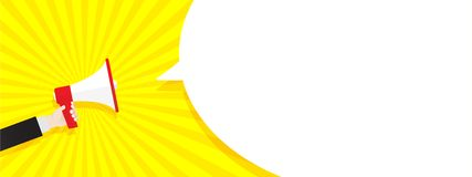 Toespraakbellen die door megafoon, de uitstekende achtergrond van het illustratiepop-art worden aangekondigd vector illustratie