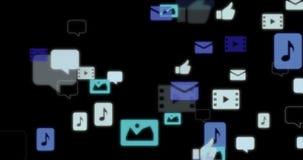 Toespraakbellen en verschillende pictogrammenvlieg aan camera stock illustratie