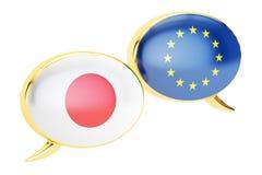 Toespraakbellen, EU-Japan gespreksconcept het 3d teruggeven Stock Afbeelding