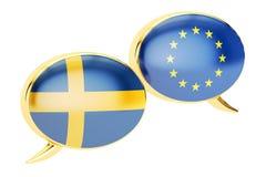 Toespraakbellen, EU-Zweden gespreksconcept het 3d teruggeven Royalty-vrije Stock Afbeelding