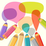 Toespraakbellen met potloden. Vectorillustratie. Plaats voor tekst Royalty-vrije Stock Afbeeldingen