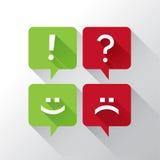 Toespraakbellen met punctuatie en emoticons Stock Fotografie