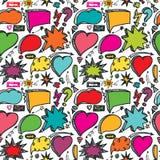 Toespraakbellen, pijl naadloos patroon doodle Stock Fotografie