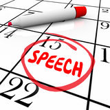 Toespraakdatum Omcirkelde Kalender Belangrijke het Spreken Overeenkomst Remin Royalty-vrije Stock Afbeelding