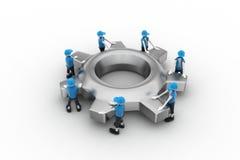 Toestel en mensen, het concept van het teamwerk Stock Foto