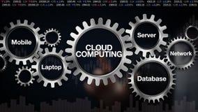 Toestel met Mobiel sleutelwoord, Laptop, Server, Netwerk, Gegevensbestand Het scherm'' WOLK COMPUTING van de zakenmanaanraking vector illustratie