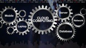 Toestel met Mobiel sleutelwoord, Laptop, Server, Netwerk, Gegevensbestand Zakenman die wat betreft het scherm 'WOLK' GEGEVENS VER vector illustratie
