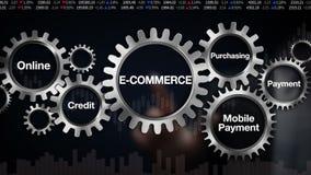 Toestel met Online sleutelwoord, Krediet, Kopend, Mobiele betaling Het scherm 'ELEKTRONISCHE HANDEL' van de zakenmanaanraking stock illustratie