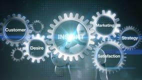 Toestel met sleutelwoord, Klant, Wens, Tevredenheid, Marketing, Strategie, Robot, cyborg wat betreft het scherm` INZICHT ` stock illustratie