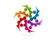 Toestel, motor, machine, groepswerk, het ontwerp van het verbindingsembleem vector illustratie