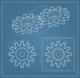 Toestel op blauwdruk vector illustratie