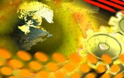 Toestellen en bol in geel licht stock illustratie