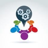 Toestellen en radertjes het pictogram van het groepswerkthema, vector Stock Foto