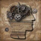 Toestellen in menselijke hersenenmetafoor Stock Foto's