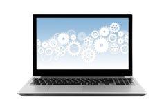 Toestellen op laptop het scherm op wit wordt geïsoleerd dat Royalty-vrije Stock Foto