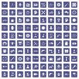 100 toestelpictogrammen geplaatst grunge saffier Stock Afbeelding
