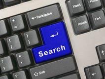 Toetsenbord - blauw zeer belangrijk Onderzoek Stock Fotografie