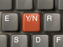 Toetsenbord (close-up) met sleutel Y/N - keus Royalty-vrije Stock Afbeeldingen