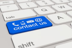 Toetsenbord - contacteer ons - blauw Royalty-vrije Stock Foto