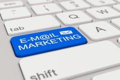 Toetsenbord - e-mail marketing - blauw Stock Foto