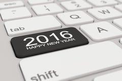 Toetsenbord - het gelukkige nieuwe jaar van 2016 - zwarte Stock Foto