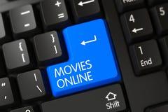 Toetsenbord met Blauw Toetsenbord - Films online Royalty-vrije Stock Afbeelding