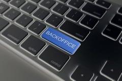 Toetsenbord met blauwe knoop - Backoffice Royalty-vrije Stock Foto