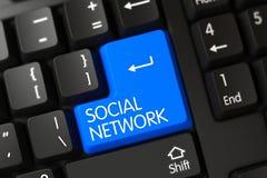 Toetsenbord met Blauwe Sleutel - Sociaal Netwerk 3d Stock Foto