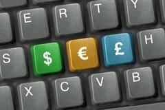 Toetsenbord met drie geldsleutels Stock Fotografie