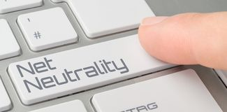 Toetsenbord met een geëtiketteerde knoop - Netto Neutraliteit stock foto
