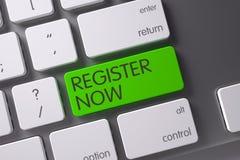 Toetsenbord met Groene Sleutel - Register nu 3d Royalty-vrije Stock Afbeelding