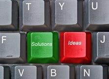 Toetsenbord met hete sleutels voor ideeën en oplossingen Stock Foto's