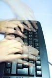Toetsenbord met vingersSchaduw Royalty-vrije Stock Afbeeldingen