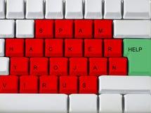 Toetsenbord - rood zeer belangrijk virus, troj Stock Afbeeldingen