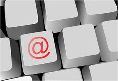 Toetsenbord, sleutel met e-mailteken vector illustratie