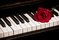 Toetsenbord van de piano en nam toe royalty-vrije stock afbeeldingen