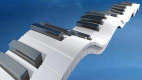 Toetsenbord van een piano die op een blauwe hemel golven - het 3D teruggeven Stock Afbeeldingen