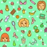 Toevallig manier naadloos patroon met dagelijks meisjesmateriaal Stock Fotografie